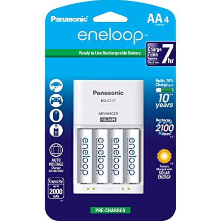 Panasonic K-KJ17MCA4BA Advanced Individual Cell Battery Charger Pack with 4 AA eneloop 2100 Cycle Rechargeable Batteries