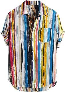 LHWY Camisas de Hombre Tops T Shirt 2019 Verano New Mens Multicolor Lump Pecho Bolsillo Manga Corta Dobladillo Redondo Cam...