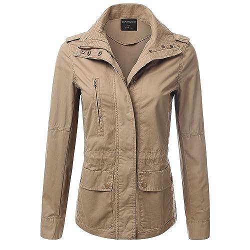 dae20f865cf JJ Perfection Women's Casual Lightweight Cotton Anorak Army Utility Jacket  Khaki S