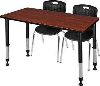 Regency MT4830CHAPBK40BK Kee Height Adjustable Classroom Table Set with Two 18