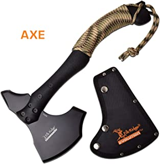 Elk Ridge Evolution - Black Hunting Axe - 6.3 in Blade with Camo Nylon Paracord Wrap Handle and Nylon Sheath - Outdoors, Hunting, Camping, Survival, Adventure Axe