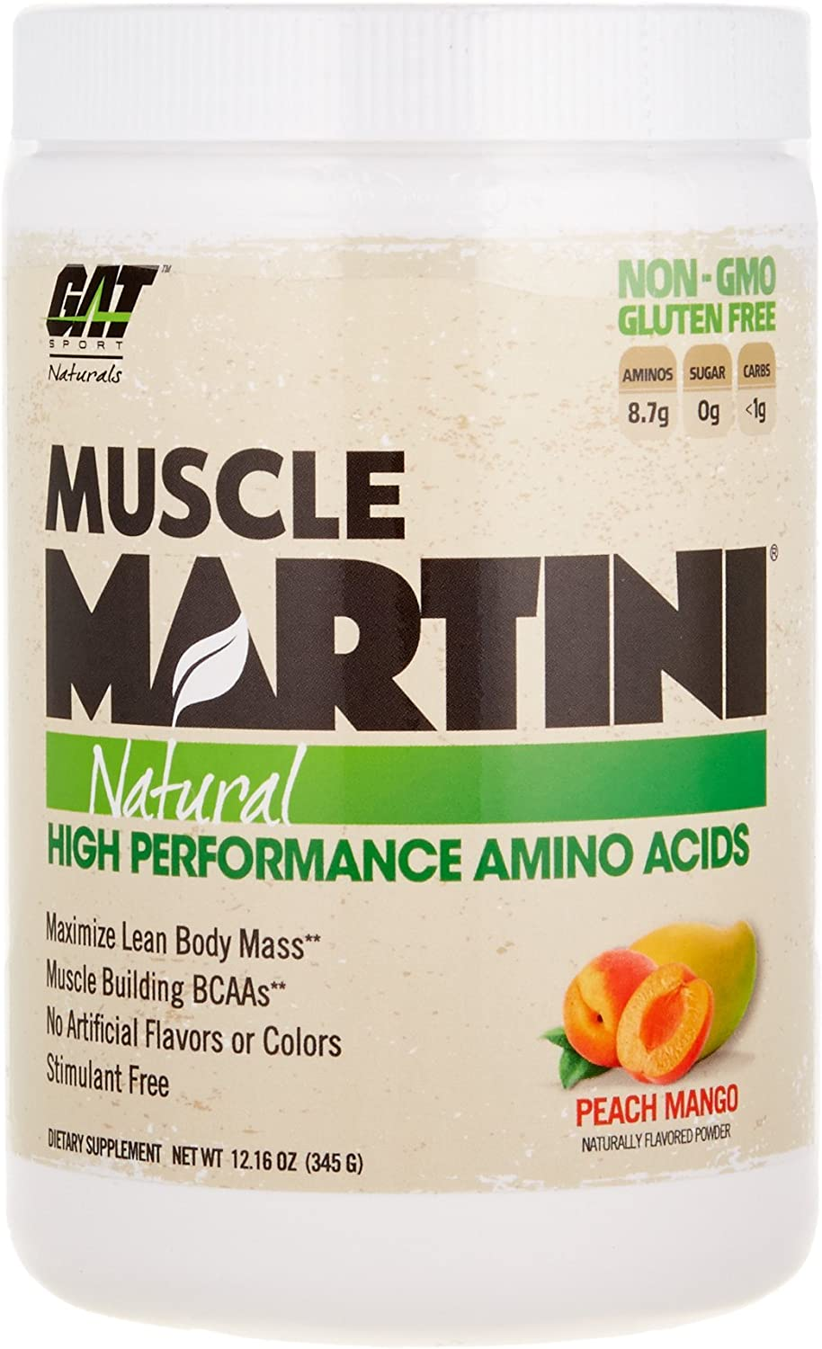 GAT Muscle Martini Natural BCAA Formula, High Performance Stimulant Free Muscle Building Amino Acids with No Artificial Flavors or colors, Peach Mango, 30 Sv