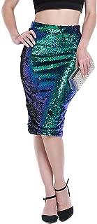 Womens Sparkle Mermaid Sequin High Waist Pencil Mini Skirt