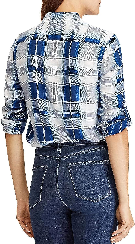 Ralph Lauren Womens Plaid Button Up Shirt, Blue