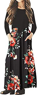 Girls Kids Long Sleeve Dresses Maxi Dress Floral Casual T-Shirt with Pocket Holiday Swing Dresses for Girl's 4-15Y