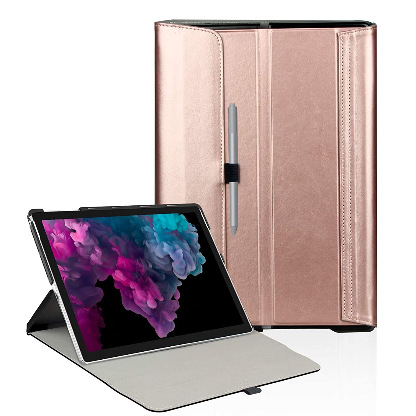 FIREDOG for Surface Pro 6 Case, Leather for Microsoft 12.3 Surface Pro 6 / Pro 2017(Pro 5) / Pro LTE/Pro 4 Tablet Cover Stand with Type Cover Keyboard (Rose Gold) …