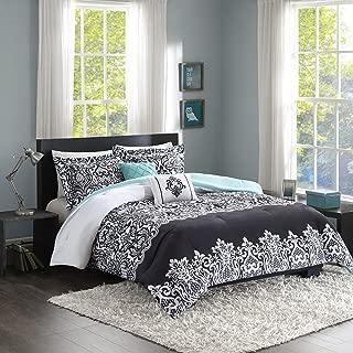 Intelligent Design Leona Comforter Set King/Cal King Size - Black, Aqua, Damask – 5 Piece Bed Sets – Peach Skin Fabric Teen Bedding for Girls Bedroom