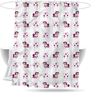 Sweet decoration Custom Shower Curtain Girls Horse Little Pony Unicorn Waterproof Colorful Funny 70in×70in