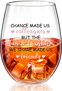 Colleagues Stemless Wine Glass, 17 Oz Coworker Friend BFF Present for Funny Coworkers Going Away Employees Leaving Farewell Retirement Party Boss Thank You Birthday Present Decor