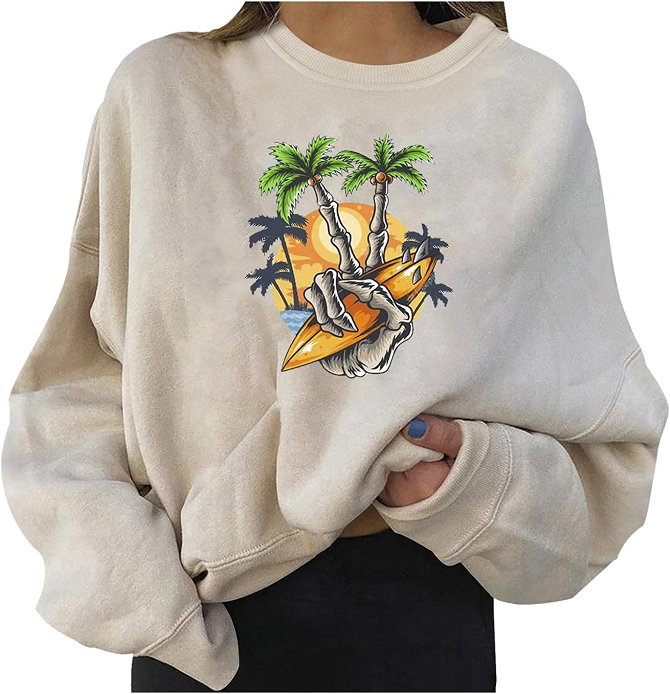 GUOBIOZIY Sweatshirt Graphic Vintage,Women's Lightweight Tops Long Sleeve Casual Loose Tunic Loose Pullover Sweatshirt
