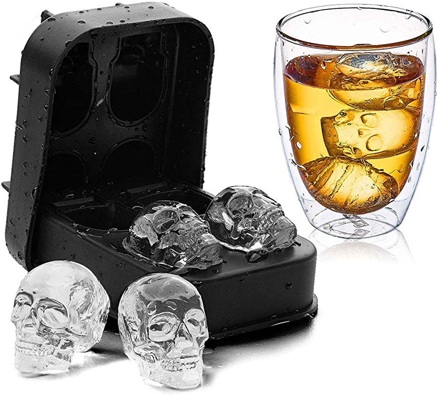3D Skull Silicone Jello Ice Mold Flexible Cube Maker Tray For Halloween And Christmas Party Best For Whiskey And Cocktails