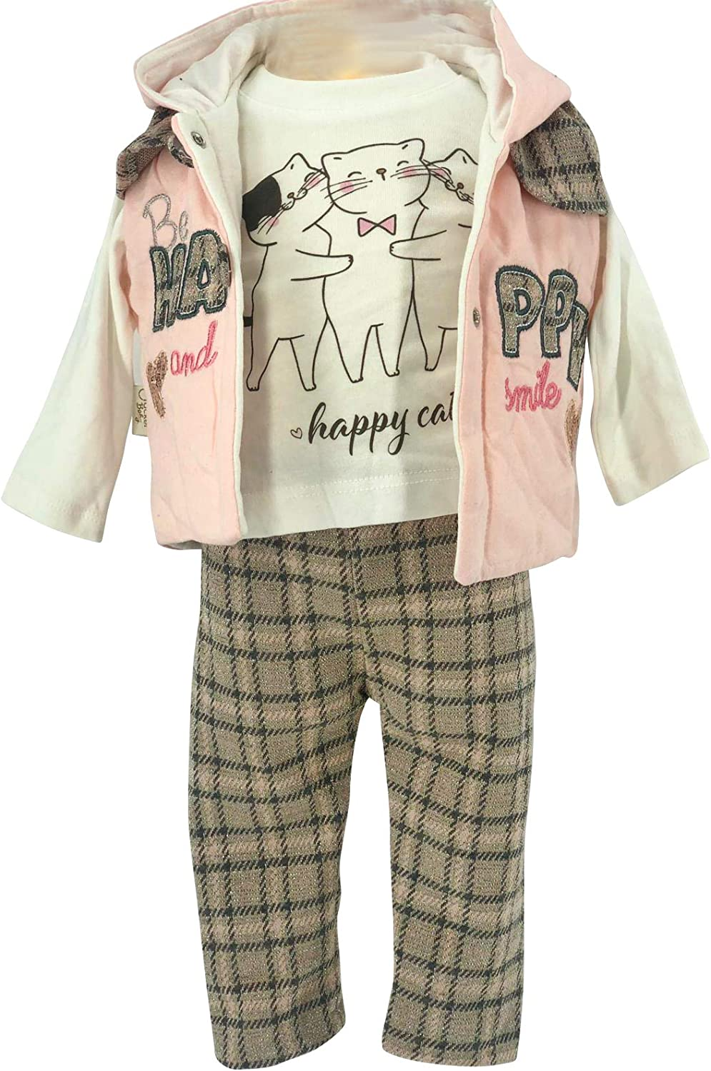 3 Piece Hooded Vest, T Shirt and Sweatpants Boys 100% Cotton 6 to 18 Months (Happy)