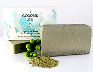 Organic Cardamom & French Green Clay Face and Body Skin Treatment Soap - Fragrance Free By The Goddess Line
