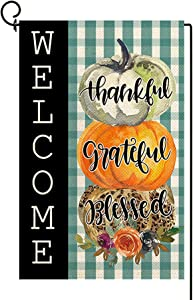Baccessor Thankful Grateful Blessed Garden Flag Double Sided Fall Pumpkins Welcome Buffalo Plaid Thanksgiving Yard Flag Autumn Holiday Farmhouse Outdoor Outside Decoration 12x18 Inch