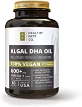Vegan Omega 3 Algal DHA Softgels: Best Prenatal DHA and Fish Oil Alternative Supplement with Natural Fatty Acids - 60 Count 600mg of DHA per Serving by The Healthy Fats Co.