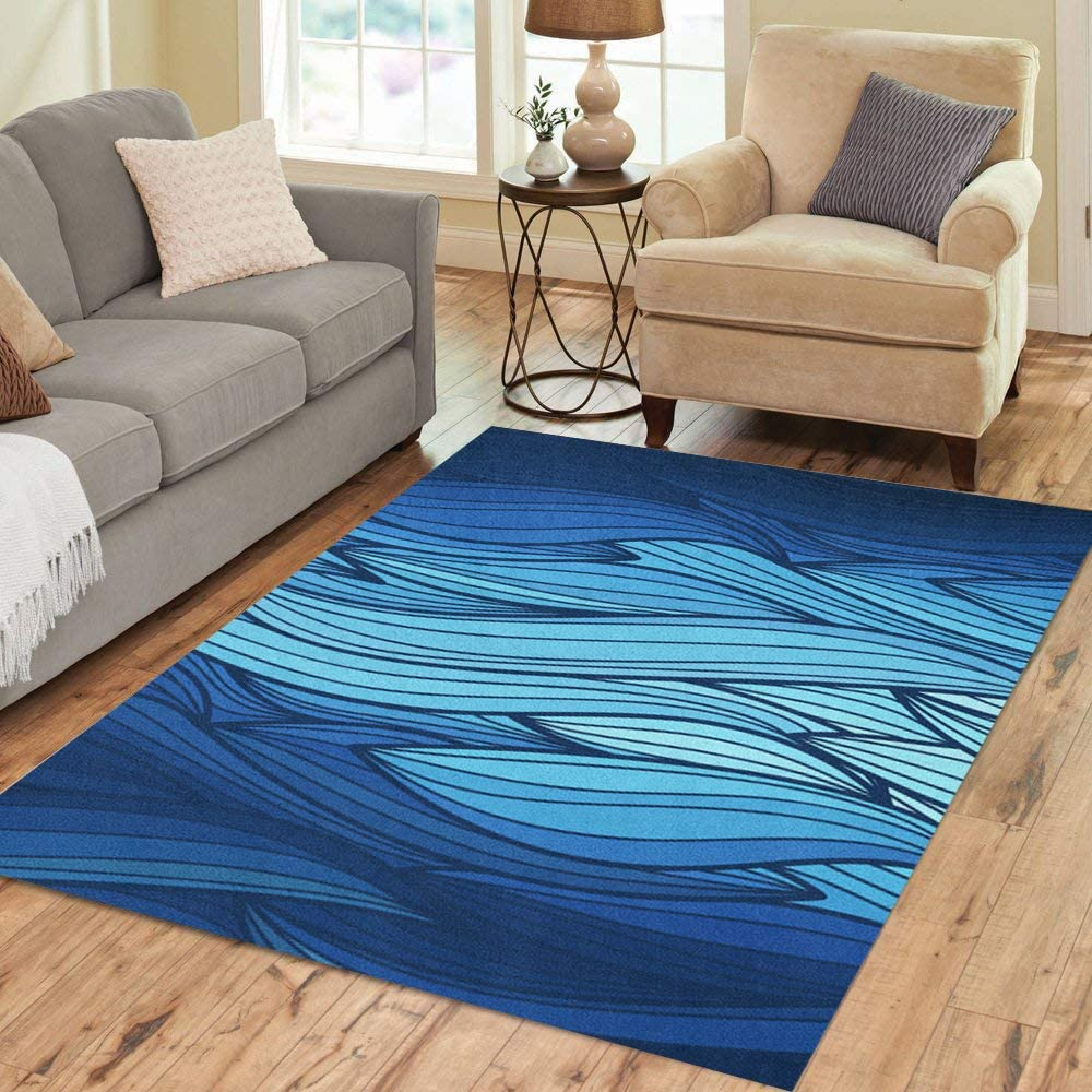 Our shop most popular Pinbeam Area Rug Abstract Wave Blue Lines Max 61% OFF of Colorful Doodle Flo