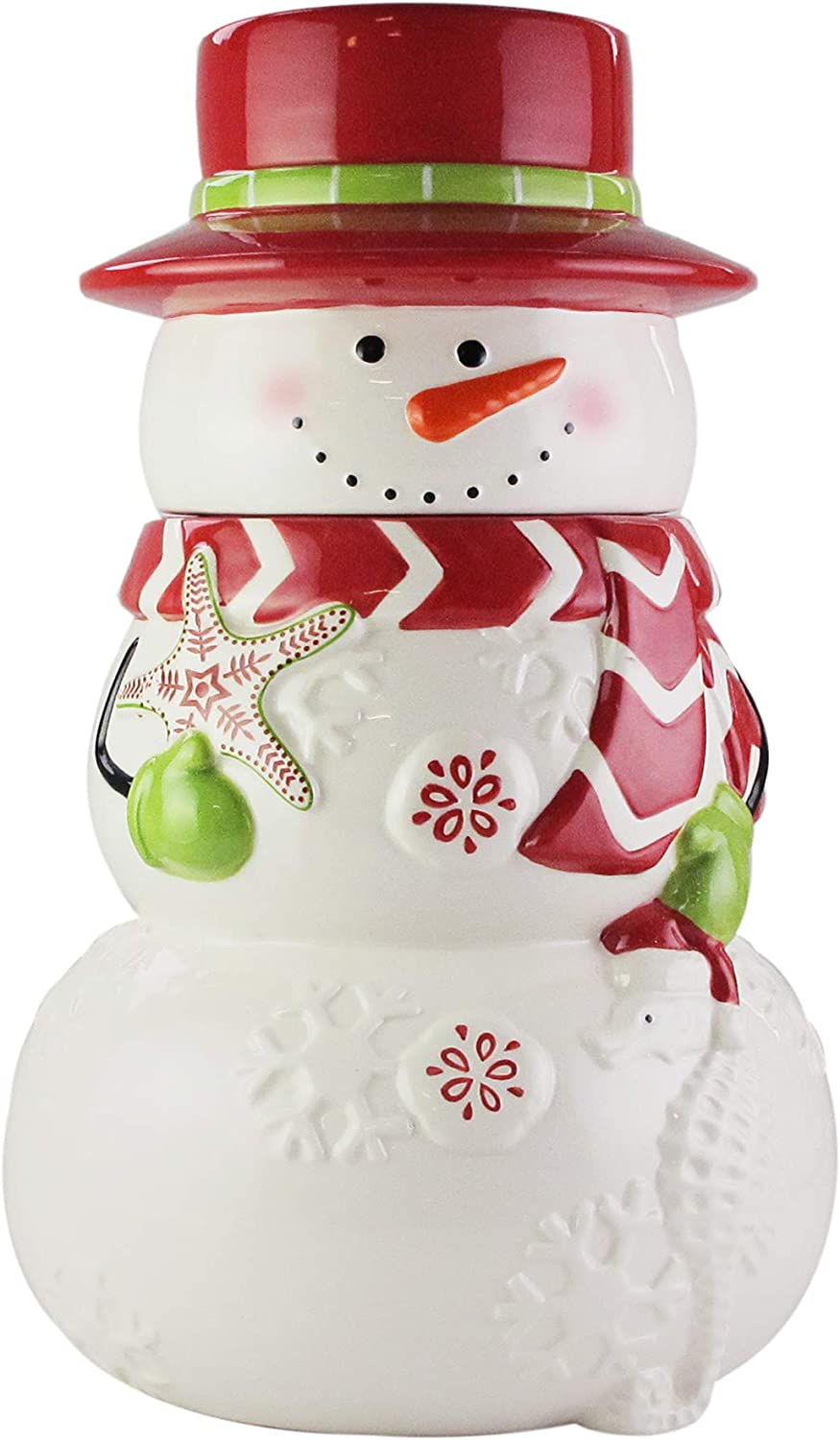 Amazon Com American Atelier Holiday Cookie Jar Winter Snowman Ceramic Jar Canister With Airtight Lid For Cookies Candies Chocolates Coffee Tea More Unique Gift Idea For Christmas Or Birthday