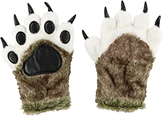 Bear Dino Animal Paw Claw Costume Cosplay Gloves Mitts for Adult Kids by LazyOne (Wolf Mitt, Small)