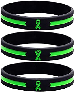 Sainstone Green Awareness Ribbon Silicone Bracelets, Mental Health Awareness Bracelet, Green Ribbon Wristbands Unisex for ...