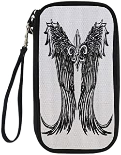 iPrint Medieval,Tribal Wing Design Magic Spell Middle Ages Symbol of Power Artistic Design,Black and White for Women Canvas Document Organizer Clutch