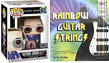 Elton Glasses Glitter Rock Exclusive Pop! John Figure Classic Singer Character Iconic Rocketman #63 Red, White & Blue Bundled with Rainbow Guitar Strings 2 Items
