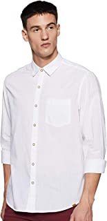 John Players Men's Solid Slim fit Casual Shirt (JCMWSHS190060001_Bright White 38)