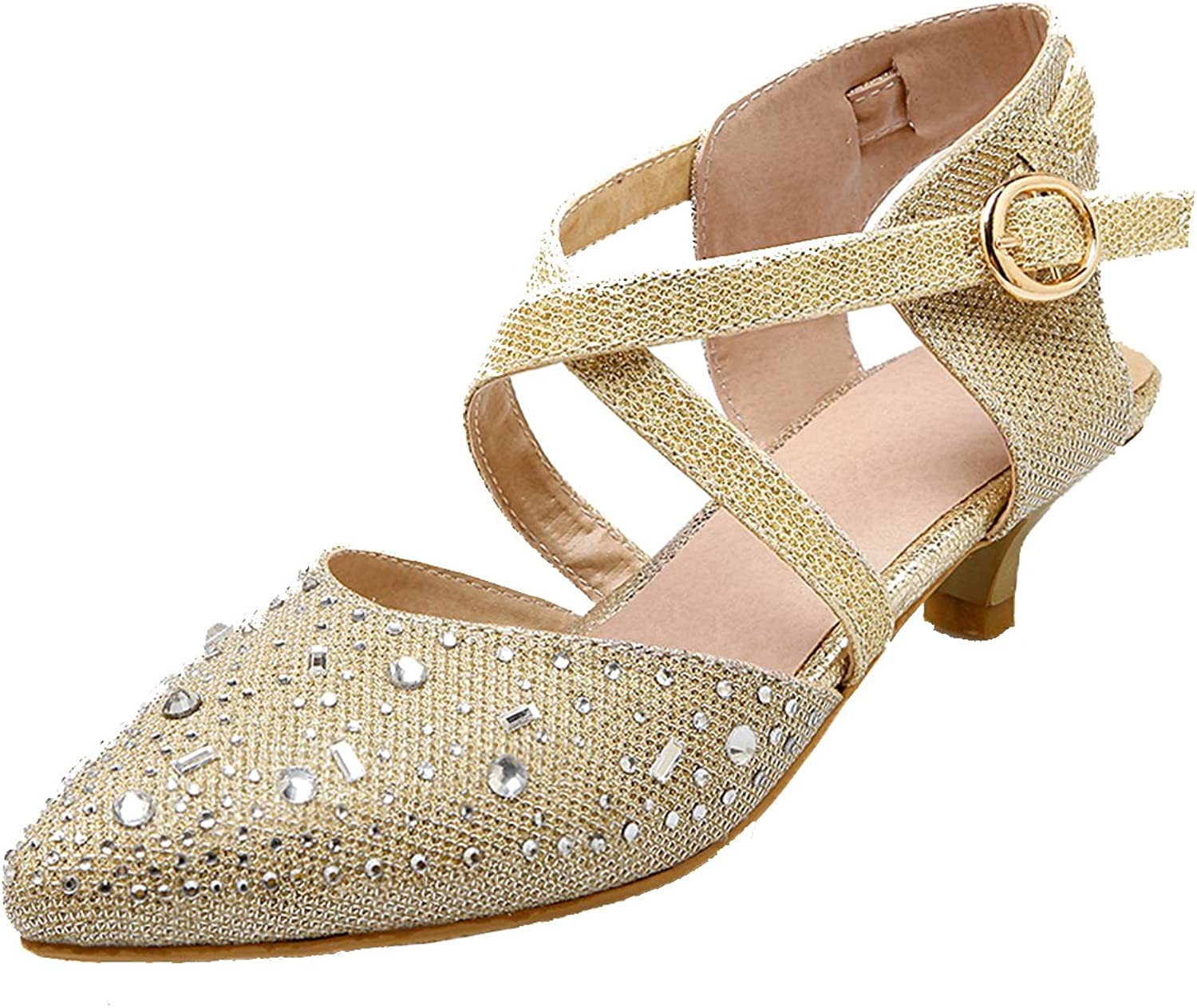 AIYOUMEI Women's FashionPointed Toe Pumps Glitter shoes Kitten Heel Ankle Strap Sandals with Rhinestones