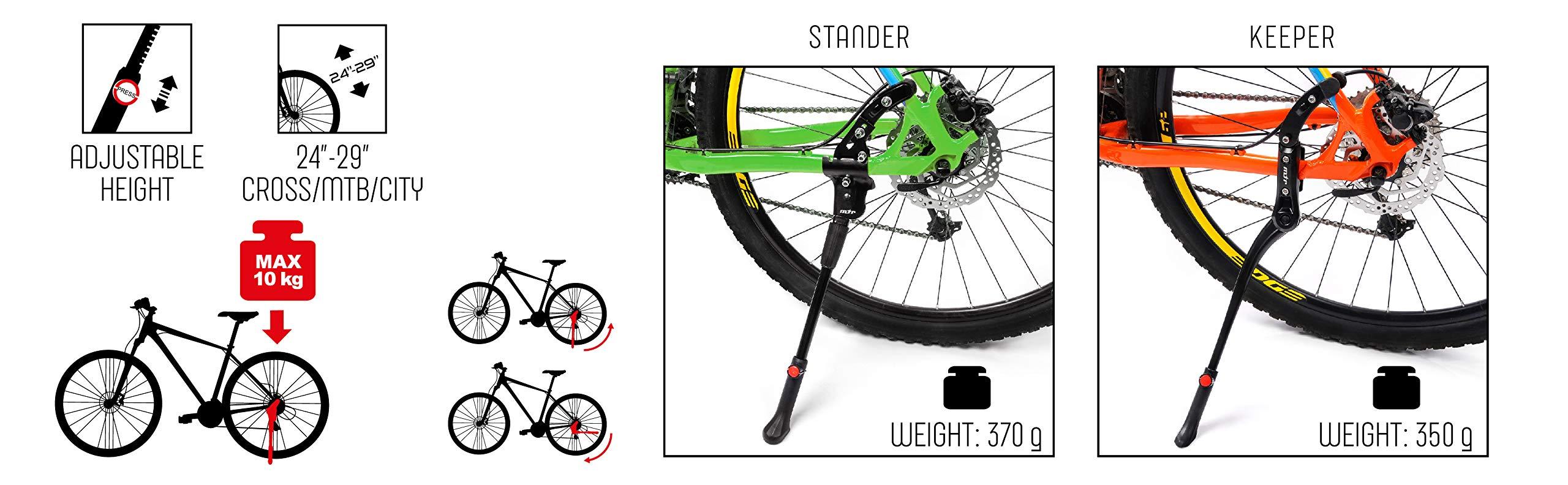 meteor Pata de Cabra para Bicicleta Aluminio Soporte Ajustable - Caballete Lateral para Bici - Soporte de Pie Universal Plegable para Ciclismo 24