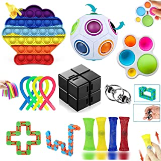 Fidget Toys Pack, Fidget Toys Anti Stress, Simple Sensory Toys, Soulager Le Stress Et L'AnxiéTé Jouet Set Pour Enfants, Ad...