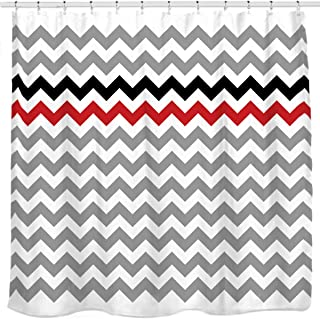 Sunlit Zigzag Red and Black Stylish Grey White Chevron Fabric Shower Curtain, Geometric Zig Zag Pattern Lines and Contemporary Stripes Futuristic Print Nordic Design Fabric Bathroom Decor