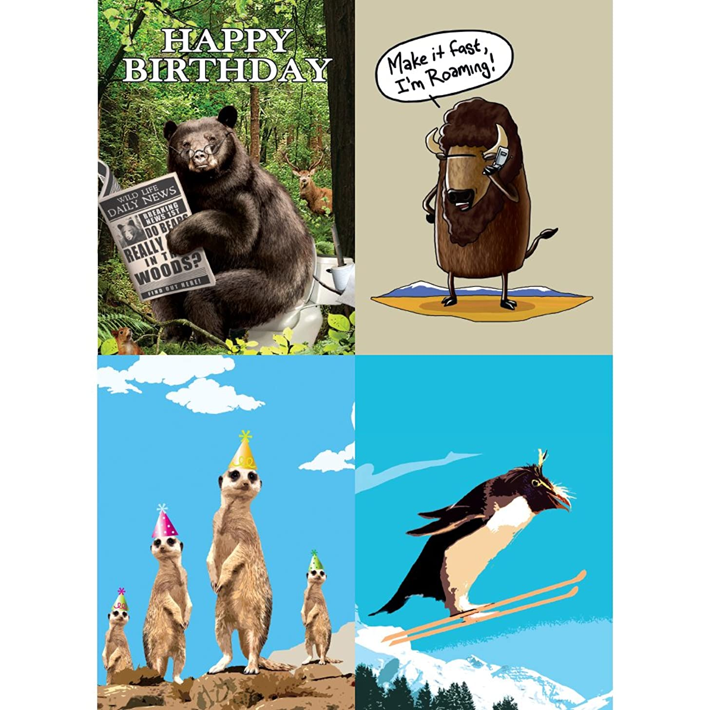 Tree-Free Greetings Furry and Funny Animal Fun Birthday Card Assortment, 5 x 7 Inches, 8 Cards and Envelopes per Set (GA31606)