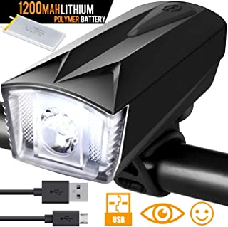 Bike Light Front Bicycle Lights Rechargeable USB Cree LED with 1200mah Lithium Polymer Battery - Anti-Glare Lens Wider Angle Super Easy Operation