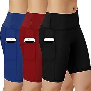 شورت ضغط رياضي للنساء مع جيب جانبي عبوة من 3 قطع