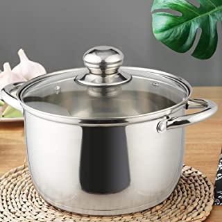 KRAMPAN Stainless Steel Stockpot Soup Pasta Pot, Double Heatproof Handles, Non Toxic & Healthy, Easy Clean & Dishwasher Safe, 4-Quart