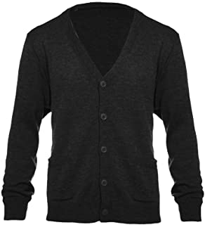 Knit Minded Mens Flat Knit Long Sleeve V-Neck Two Pocket Button Down Cardigan Sweater (See More Sizes)