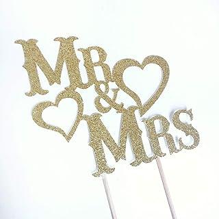 DKISEE Tarjeta con purpurina para tarta de boda Mr & Mrs, purpurina dorada, decoración de despedida de soltera, guión, rús...