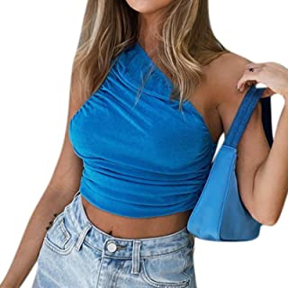 ZGMYC Women Sexy One Shoulder Ruched Crop Top Sleeveless Off Shoulder Tank Top Camisole for Rave Party Festival