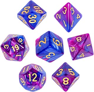 CiaraQ Polyhedral Dice Set with Black Drawstring Pouch, One Double-Colors Complete Dice Sets of D4 D6 D8 D10 D% D12 D20 Compatible with Dungeons and Dragons DND RPG MTG Table Games ( Blue-Purple )
