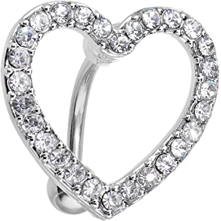 Body Candy Stainless Steel Clear Bordered Hollow Heart Top Mount Belly Ring