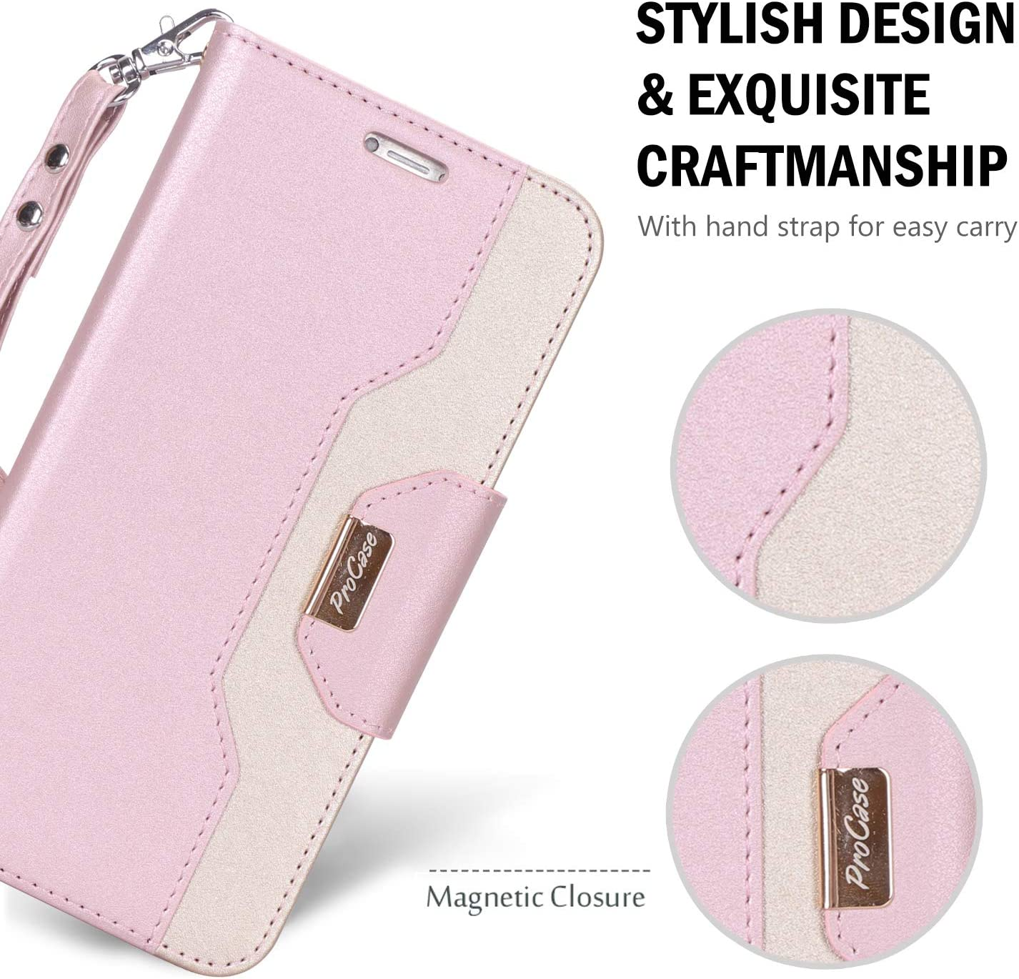 ProCase Wallet Case for iPhone XR, Folio Flip Case with Kickstand Card Holders Mirror Wristlet, Folding Stand Protective Cover for Apple iPhone XR 6.1