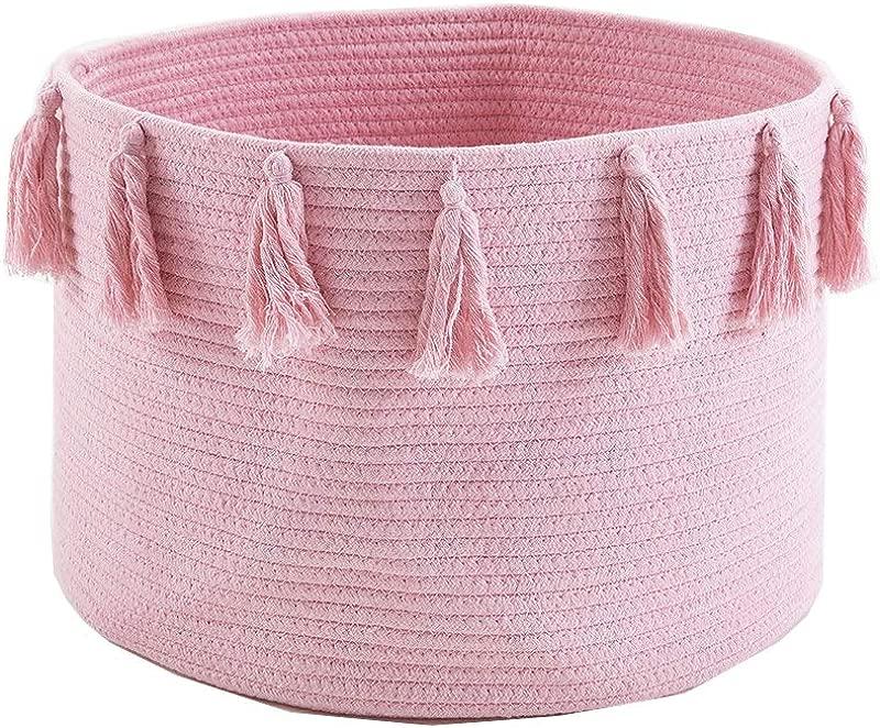 SONINLAW Nursery Hampers Large Woven Cotton Rope Storage Basket Tassel Laundry Basket Baby Toy Basket For Living Room