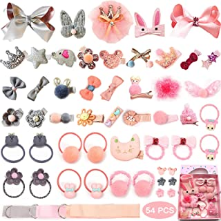 Baby Hair Clips and Hair Ties, 54pcs Cute Bow Hairpins...