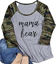 MAXIMGR Mama Bear T Shirt Women Casual 3/4 Sleeve Camouflage Printed Patchwork Top Tees