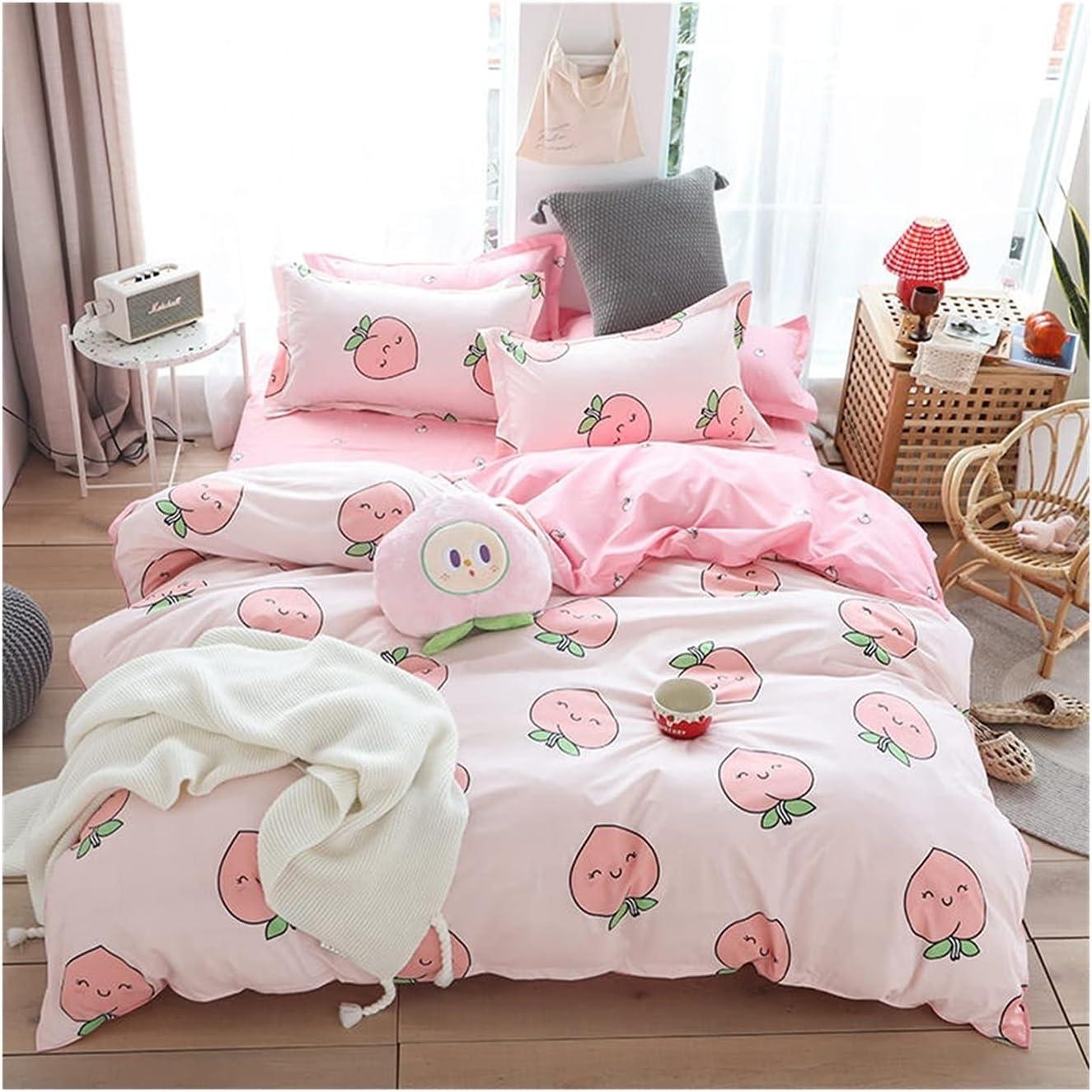 Max 78% OFF LSDJ QMDSH Home Textile Baltimore Mall Girl Bedding Pink Duvet Set Peach Cover