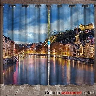cobeDecor European Outdoor Ultraviolet Protective Curtains Saone River Lyon City W72 x L84(183cm x 214cm)
