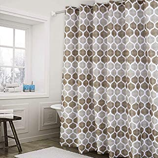 Haperlare Fabric Shower Curtain, Moroccan Geometric Design Shower Curtain for Bathroom, Heavy Textured Fabric Bath Curtain, 72 X 72 Inch, Taupe/Brown