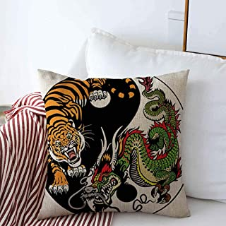 Starosa Throw Pillows Cover 16 x 16 Inches Shui Chinese Dragon Tiger Yin Yang Harmony Animals Wildlife Miscellaneous Tattoo Circle Balance White Cushion Case Cotton Linen for Fall Home Decor