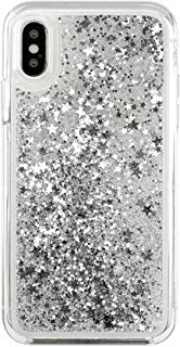 Momo Case iPhone Xs MAX, XS, X - Case - Waterfall - Cascading Liquid Glitter - Protective Design - Apple iPhone 10 (Glossy Silver, iPhone Xs/X)