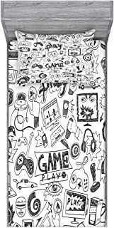 Ambesonne Video Games Fitted Sheet & Pillow Sham Set, Monochrome Sketch Style Gaming Design Racing Monitor Device Gadget Teen 90's, Decorative Printed 2 Piece Bedding Decor Set, Twin, Charcoal