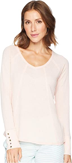 Washed Waffle Long Sleeve Top